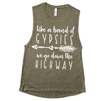 Load image into Gallery viewer, Like a Band of Gypsies we go down the Highway Shirt or Tank, Willie Nelson Song Lyrics, Choose Style & Colors - The Hot Polka Dot