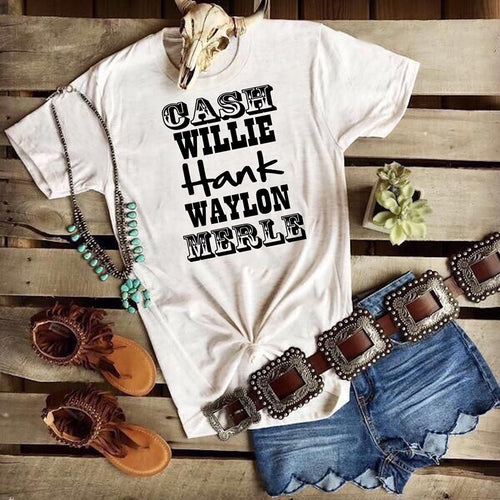 Cash Willie Hank Waylon & Merle Shirt or Tank,  Choose Style & Colors - The Hot Polka Dot