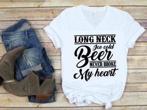 Long Neck Ice Cold Beer never broke my Heart Shirt or Tank,  Choose Style & Colors, Luke Combs - The Hot Polka Dot