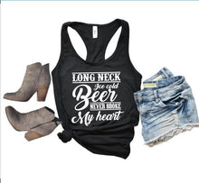 Load image into Gallery viewer, Long Neck Ice Cold Beer never broke my Heart Shirt or Tank,  Choose Style & Colors, Luke Combs - The Hot Polka Dot
