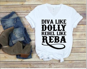 Diva like DOLLY Rebel like REBA Shirt or Tank,  Choose Style & Colors - The Hot Polka Dot