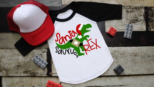 Santa-Saurus REX Dinosaur Christmas Shirt. Boys Christmas Shirt, Choose Style - The Hot Polka Dot