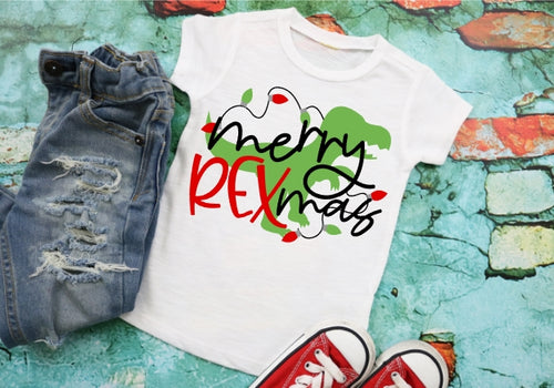 Merry REXmas Dinosaur Christmas Shirt. Boys Christmas Shirt, Choose Style - The Hot Polka Dot
