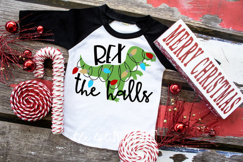 REX the Halls Dinosaur Christmas Shirt. Boys Christmas Shirt, Choose Style - The Hot Polka Dot