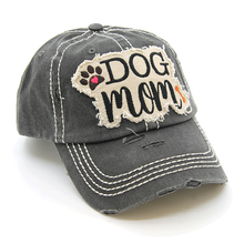 Load image into Gallery viewer, Charcoal Gray DOG MOM Distressed Hat - The Hot Polka Dot