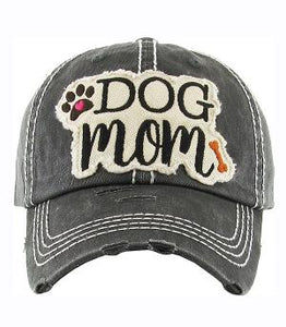 Charcoal Gray DOG MOM Distressed Hat - The Hot Polka Dot