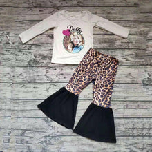 "Load image into Gallery viewer, Toddler Girls ""Dolly"" Outfit, Dolly Parton Top & Matching Leopard Bells - The Hot Polka Dot"