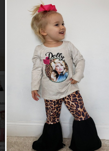 "Toddler Girls ""Dolly"" Outfit, Dolly Parton Top & Matching Leopard Bells - The Hot Polka Dot"