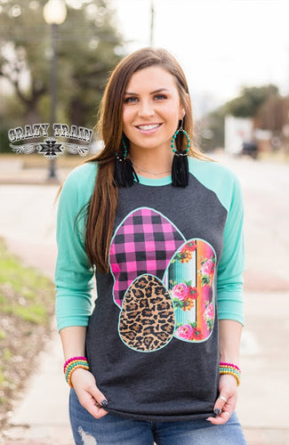 DON'T YOLK AROUND Easter Egg Baseball Raglan ~ Crazy Train - The Hot Polka Dot