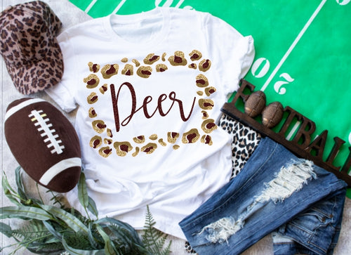 Deer Park Deer Leopard Frame, All Glittered Spirit Game Day Shirt, Deer Park Pride