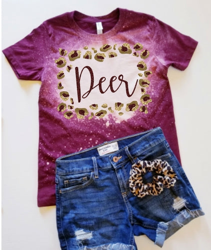 *BLEACHED* Maroon Deer Park DEER Leopard Frame, All Glittered Spirit Game Day Shirt, Deer Park Pride