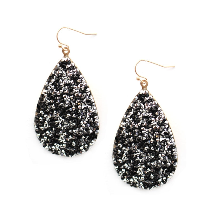 BLACK Glitter Teardrop Earrings - The Hot Polka Dot