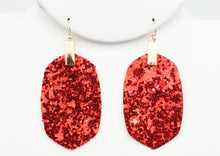 Load image into Gallery viewer, *CLEARANCE* RED Glitter Earrings - The Hot Polka Dot