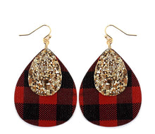 Load image into Gallery viewer, Buffalo Plaid & Gold Glittered Layered Tear Drop Earrings - The Hot Polka Dot