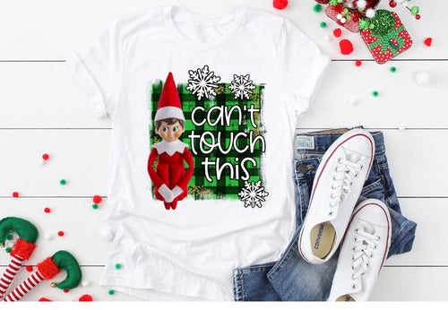 Can't Touch This, Elf on the Shelf, Funny Elf on the Shelf Shirt, Choose Shirt Color - The Hot Polka Dot