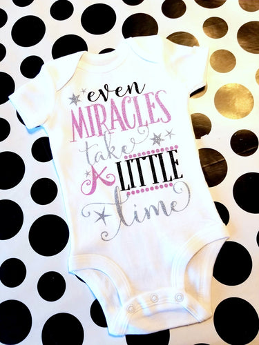 Even Miracles take a Little Time, New Baby Girl Onesie, Baby Shower Gift - The Hot Polka Dot