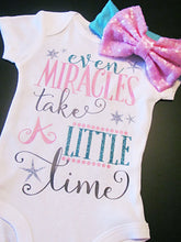 Load image into Gallery viewer, Even Miracles take a Little Time, New Baby Girl Onesie, Baby Shower Gift - The Hot Polka Dot