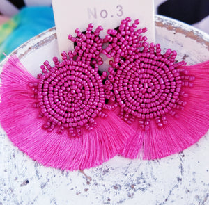 EXTRA COLLECTION Solid Fuschia Beaded Tassel Earrings