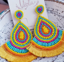 Load image into Gallery viewer, EXTRA COLLECTION Colorful Yellow, Turquoise, & Orange Beaded Tassel Earrings