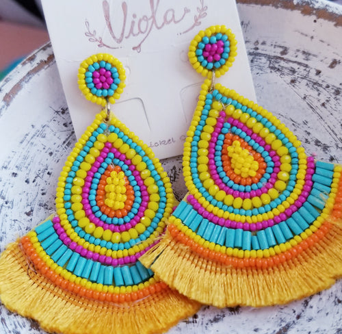 EXTRA COLLECTION Colorful Yellow, Turquoise, & Orange Beaded Tassel Earrings