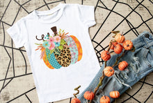 Load image into Gallery viewer, Girls Thanksgiving Pumpkin Shirt, Leopard Pumpkin Shirt - The Hot Polka Dot