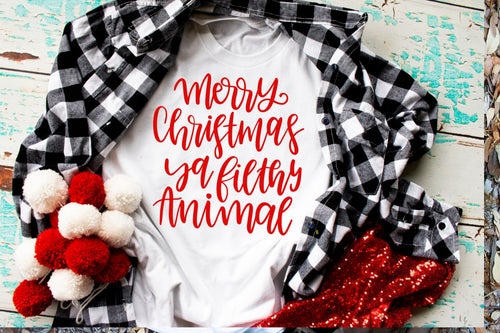 Christmas Shirt Special, Merry Christmas ya Filthy Animal, Choose Shirt Color - The Hot Polka Dot