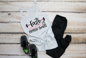 FAITH Weights & Protein Shakes, Workout, Gym, Training Tank Top or Tee, Choose Colors - The Hot Polka Dot