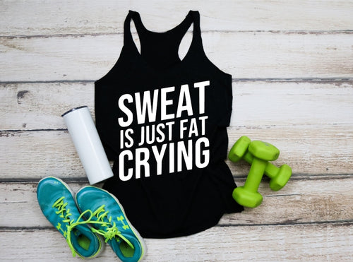 Sweat is Just Fat Crying, Workout Training Tank Top or Tee, Choose Colors - The Hot Polka Dot