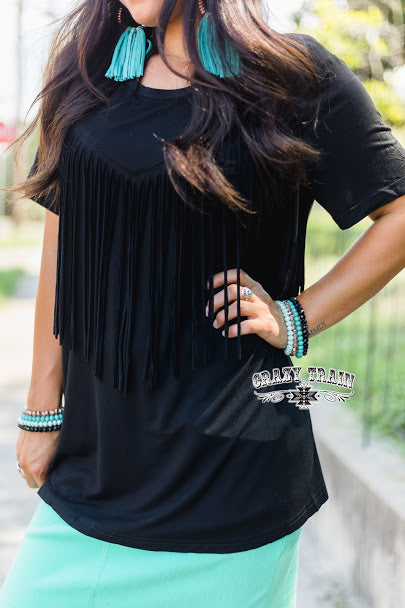 Fringe in Low Places Black Top ~ Crazy Train - The Hot Polka Dot