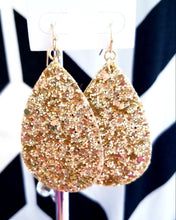 Load image into Gallery viewer, Gold Chunky Glitter Leather Teardrop Earrings