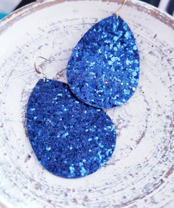 Navy Blue Glitter Leather Teardrop Earrings