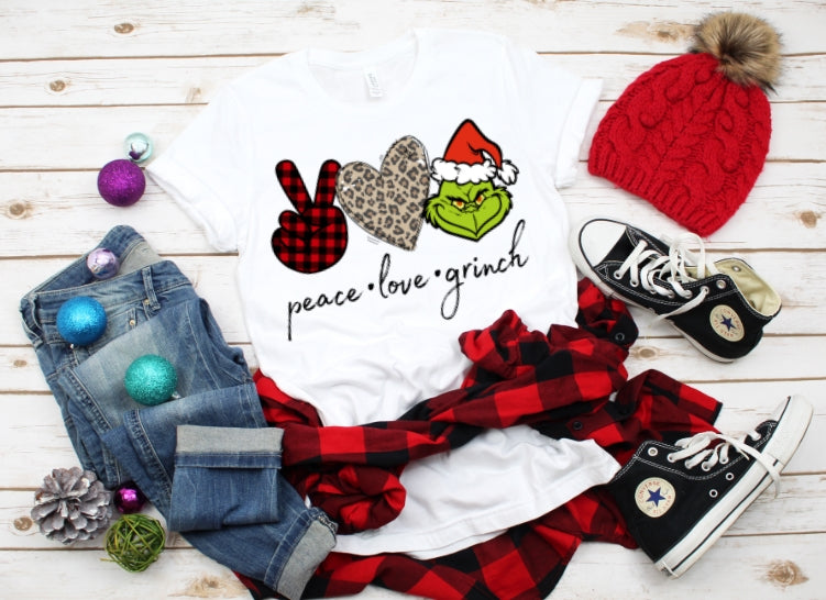 Peace Love and Grinch, Grinch Christmas Shirt, Funny Christmas Shirt - The Hot Polka Dot