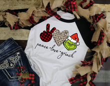 Load image into Gallery viewer, Peace Love and Grinch, Grinch Christmas Shirt, Funny Christmas Shirt - The Hot Polka Dot