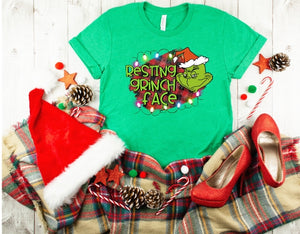 Resting Grinch Face Buffalo Plaid Background, Grinch Christmas Shirt, Funny Christmas Shirt, Choose Shirt Color - The Hot Polka Dot