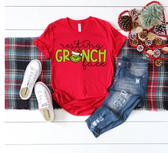 Resting Grinch Face, Grinch Christmas Shirt, Funny Christmas Shirt - The Hot Polka Dot