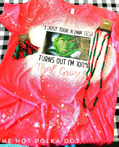 *BLEACHED* Turns out I'm 100% that GRINCH, Adult Grinch Christmas Shirt, Distressed Christmas Shirt - The Hot Polka Dot
