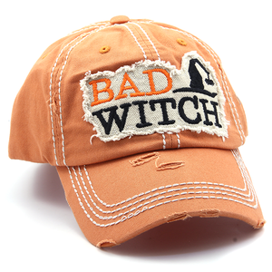 Halloween BAD WITCH Orange Distressed Hat