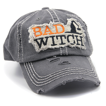 Load image into Gallery viewer, Halloween BAD WITCH Orange Distressed Hat