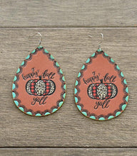Load image into Gallery viewer, Happy Fall Yall Pumpkin Leather Teardrop Earrings