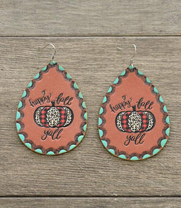 Happy Fall Yall Pumpkin Leather Teardrop Earrings