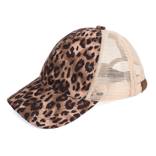 Leopard Print Ponytail Hat - The Hot Polka Dot