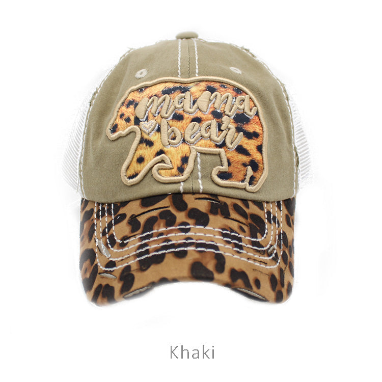 Leopard Print Mama Bear Distressed Baseball Hat