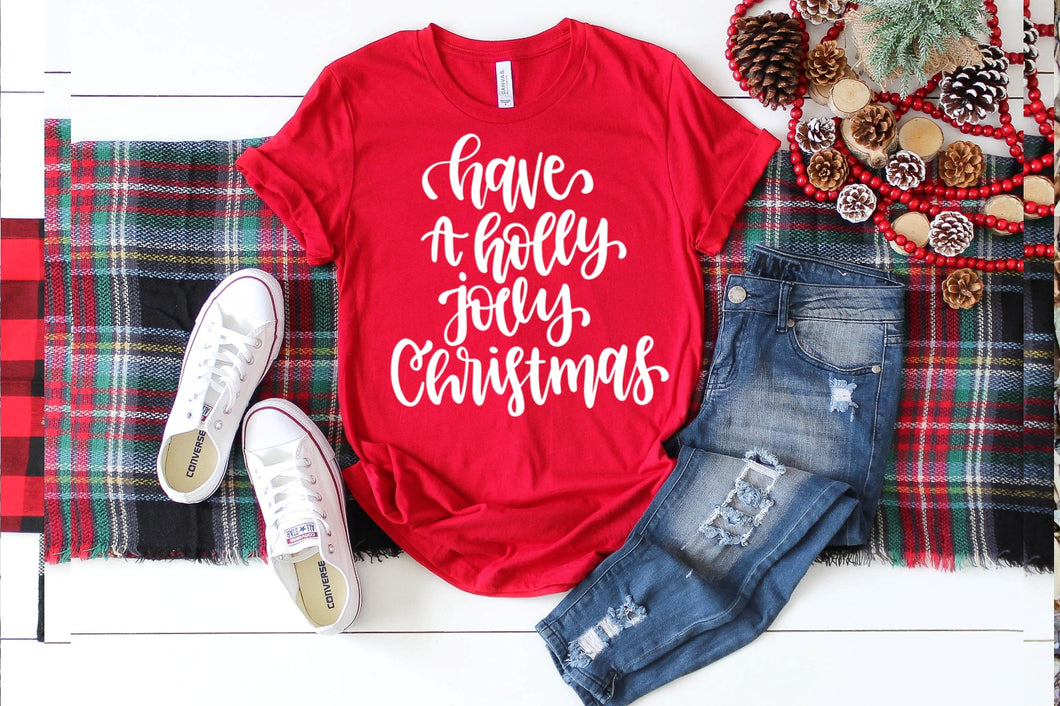 Christmas Shirt Special, Have yourself a Holly Jolly Christmas, Choose Shirt Color - The Hot Polka Dot