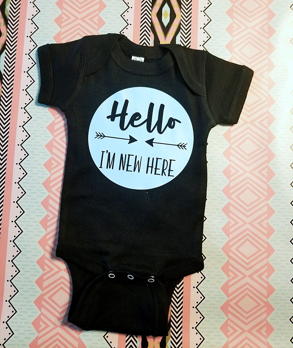 Hello I'm New Here, Baby Boy Onesie, New Baby Boy - The Hot Polka Dot