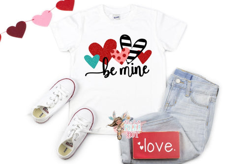 Girls BE MINE Valentine's Day Shirt, - The Hot Polka Dot
