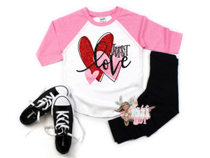 Girls JUST LOVE Valentine's Day Shirt, Choose Shirt Style, Girls Holiday Glitter Tee - The Hot Polka Dot