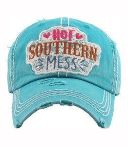 Turquoise Hot Southern Mess Distressed Baseball Hat - The Hot Polka Dot