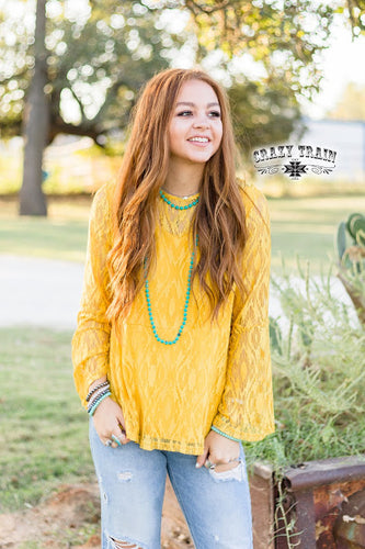 MUSTARD HARTLII LACE TOP ~ Crazy Train - The Hot Polka Dot