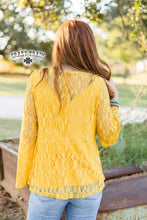 Load image into Gallery viewer, MUSTARD HARTLII LACE TOP ~ Crazy Train - The Hot Polka Dot