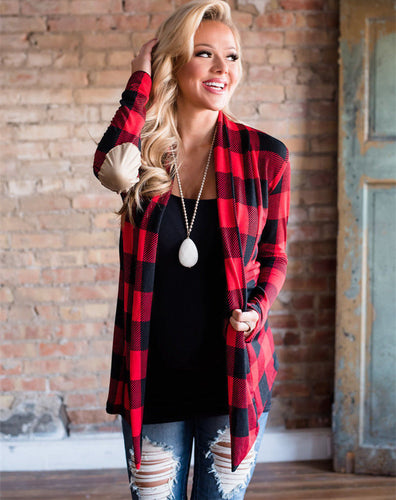 Women's Buffalo Plaid Cardigan with Elbow Patch